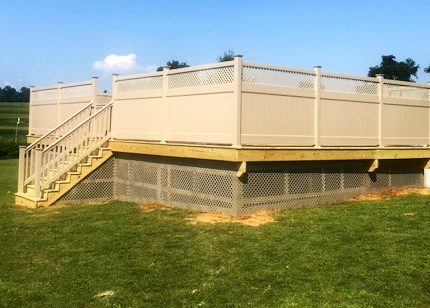 Fencing surrounding above ground pool